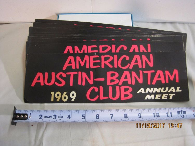 1969 American Austin Bantam Club Annual Meet Bumper sticker