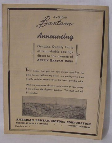 American Bantam Parts Catalog - Detroit Michigan