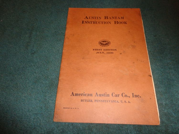 American Austin Instruction Book