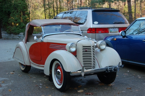 1938 American Bantam Roadster For sale front end, top up, orange cove.