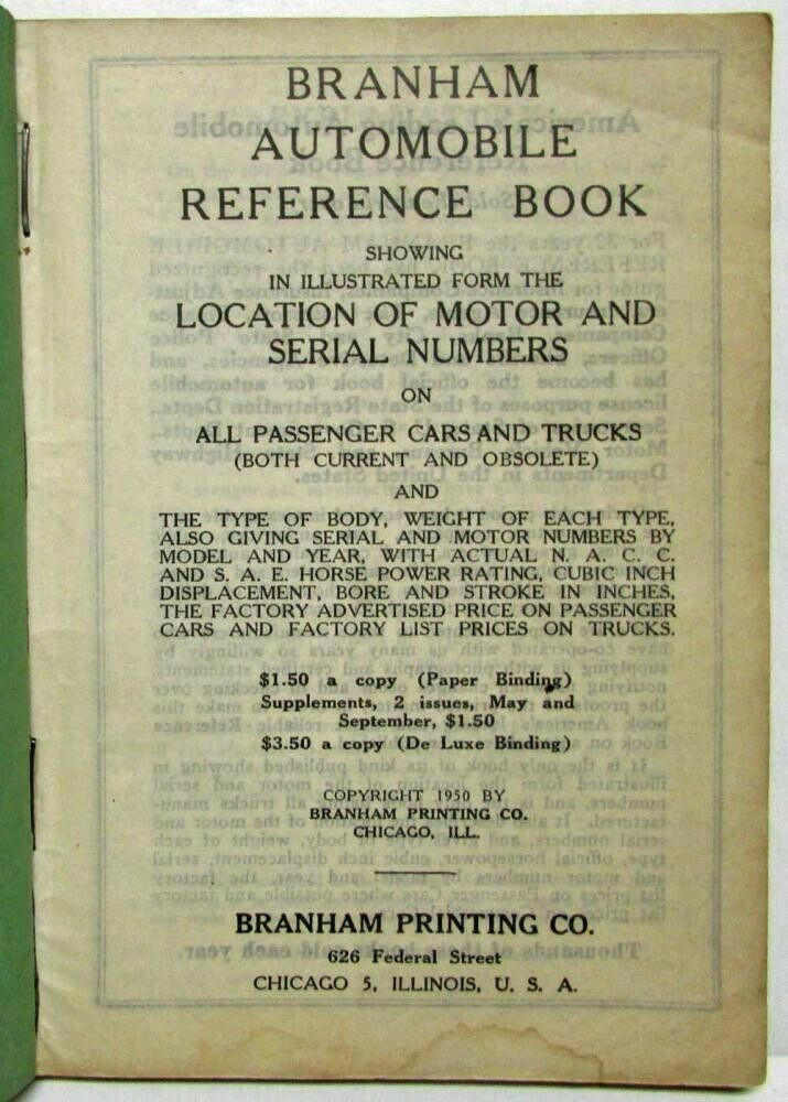 1950 Branham Automobile Reference Book 2