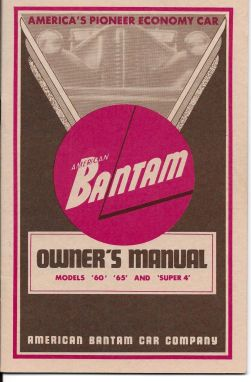 Cunningham Bantam Owners Manual 1