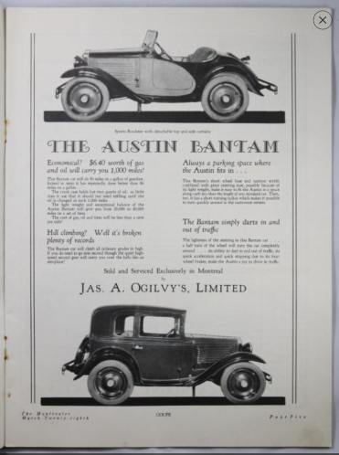 March 28 1931 magazine 'GOSSIP – The Montrealer_ Austin Ad 2